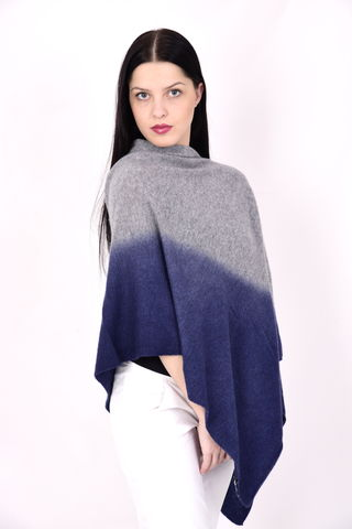 Dip,Dyed,Poncho,Silver,Blue