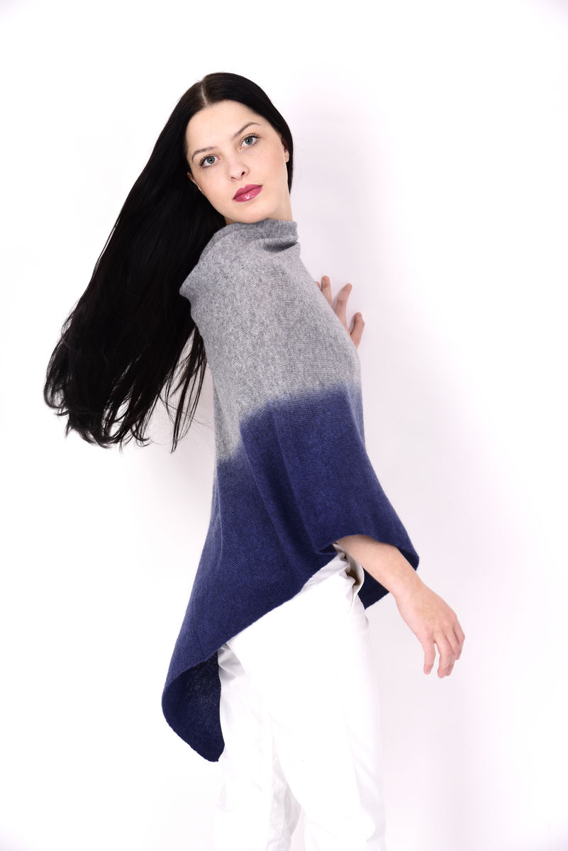 Dip Dyed Poncho Silver Blue - product images  of