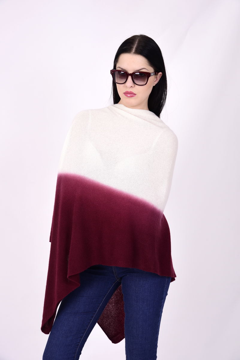 Dip Dyed Poncho Cream Bordeaux - product image