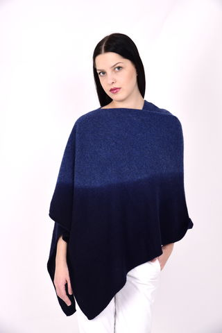 Dip,Dyed,Poncho,Blue,Navy
