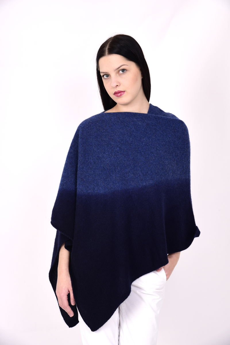 Dip Dyed Poncho Blue Navy - product image