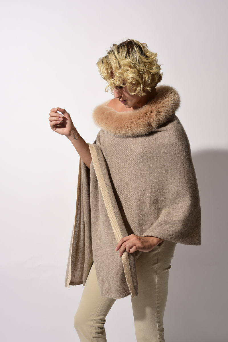 Fox Trimmed Luxe Poncho with Contrast Stripe - product images  of