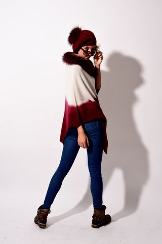 Fox,Fur,Trimmed,Dip,Dyed,Poncho,Cream,Bordeaux