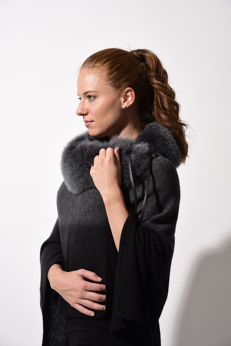 Fox Fur Trimmed Dip Dyed Poncho Grey Black - product images  of