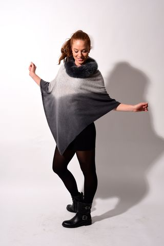 Fox,Fur,Trimmed,Dip,Dyed,Poncho,Silver,Grey