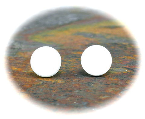Cool,White,Ear,Studs,Flat,Earrings,for,Men,Guys,Teens,Discs,8mm,white earrings, white stud earrings, white earrings for men, cool earrings for men, aluminum earrings, flat disc earrings, round white earrings, white circle earrings, unique earrings for men, 8mm earrings, 3Fine Design