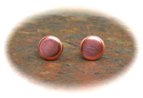 Copper,Earrings,Men,Guys,Teens,Flat,Disc,Studs,Small,Circle,6mm,copper earrings, copper studs, flat disc earrings, copper stud earrings, cool earrings for men, 6mm earrings for men, circle earrings, unisex earrings, 3Fine Design