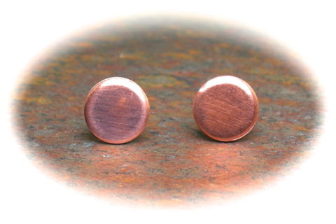 Cool,Earrings,Men,Guys,Teens,Unisex,Flat,Disc,Circles,Copper,Studs,8mm,cool earrings for men, guy earrings, copper earrings, 8mm earrings, flat disc earrings, stylish earrings, circle earrings, unique studs for men, teen earrings, 3Fine Design