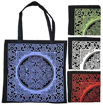 Celtic,Mandala,Tote,tote, bag, Celtic, knotwork, cotton,  red, blue, white , gold, black, green,Celtic Tote, Celtic bag, Celtic Mandala design,  BrushCreekWoolWorks, Brush Creek Wool Works