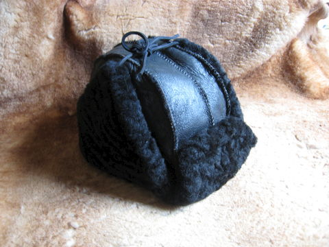 Black,Trooper,Sheepskin,Hat,,Medium,hat, sheepskin, sheepskin hat, trooper hat, sheepskin trooper hat,  nappa, shearling, clothing, leather, trooper,black hat, Brush Creek Wool Works, BrushCreekWoolWorks