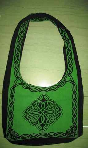Celtic,Design,Sling,Bag,in,Green,bag, tote, sling bag, Celtic bag, Celtic tote, sling tote, green bag,book bag, BrushCreekWoolWorks, Brush Creek Wool Works