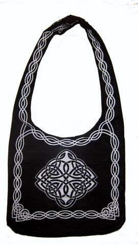 Celtic,Design,Sling,Bag,in,Black,and,White,Celtic bag, Celtic tote, sling tote, black and white bag, book bag, BrushCreekWoolWorks, Brush Creek Wool Works