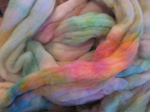 Hawaiian,Flowers,Hand,Dyed,Merino,Wool,Roving,wool,merino,roving, wool roving, hand dyed wool,spinning roving,felting wool,needle felting, Hawaiian flowers, spinning fiber,multicolor roving, BrushCreekWoolWorks, Brush Creek Wool Works