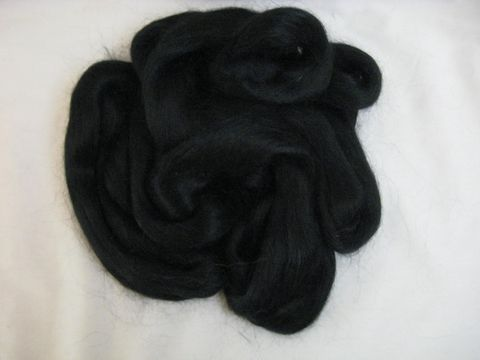 Dyed,Black,Alpaca,Top,alpaca,top,black,spinning, roving, dyed, BrushCreekWoolWorks, Southwestern Pa, Brush Creek Wool Works