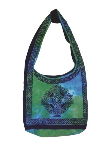 Celtic,Cross,Design,Sling,Bag,in,Multi,color,Turquoise,bag, tote, sling bag, Celtic bag, Celtic tote, sling tote, purple bag, book bag, BrushCreekWoolWorks, Brush Creek Wool Works