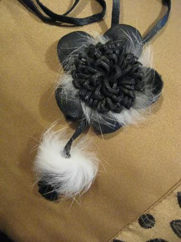 Black,and,White,Leather,Rosette,Pendant,leather,mink,pendant, leather, rosette, black, white, leather necklace, leather pendant, jewelry, necklace, BrushCreekWoolWorks, Brush Creek Wool Works
