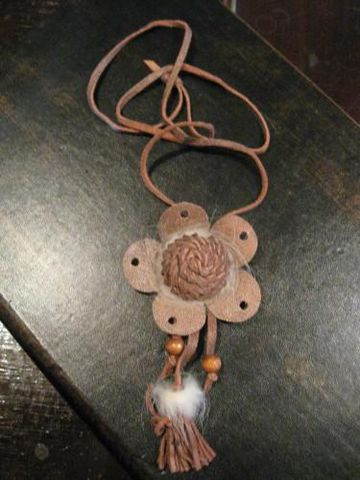 Brown,Leather,Rosette,Pendant,leather, mink,pendant, leather, rosette, brown, jewelry,necklace, leather necklace, leather pendant,BrushCreekWoolWorks, Brush Creek Wool Works
