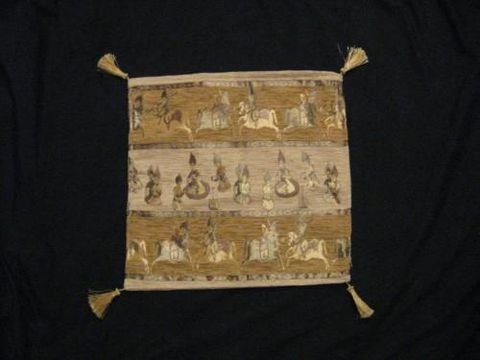 Square,Pillow,Cover,,Turkish,Horsemen,,Gold,cotton,acrylic,pillow, square, cover, horsemen, tribal, Turkish, gold, BrushCreek, Southwestern Pa, Brush Creek Wool Works