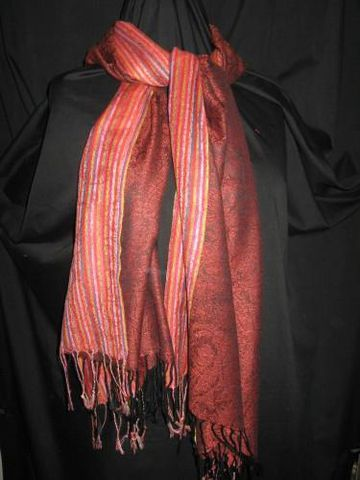 Pashmina,Silk,Scarf,,Red,Paisley,Stripe,pashmina,silk, silk, scarf, shawl, red paisley, stripe, Brush Creek Wool Works, BrushCreekWoolWorks, Southwestern Pa