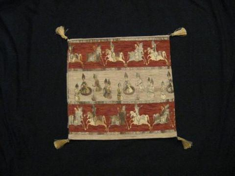 Square,Pillow,Cover,Turkish,Horsemen,Rust,Cream,Gold,cotton,acrylic,pillow, square, cover, horsemen, tribal, Turkish, cream, rust, gold, BrushCreek, Southwestern Pa, Brush Creek Wool Works
