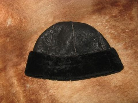 Black,Round,Sheepskin,Hat,hat, sheepskin, sheepskin hat,  black hat , nappa, shearling, clothing, leather, Brush Creek Wool Works, BrushCreekWoolWorks