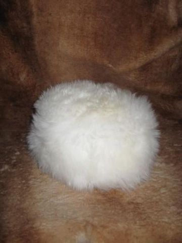 White,Snowball,Sheepskin,Hat,hat, sheepskin, snowball, white, clothing, unisex, Brush Creek Wool Works, BrushCreekWoolWorks, Southwestern Pa