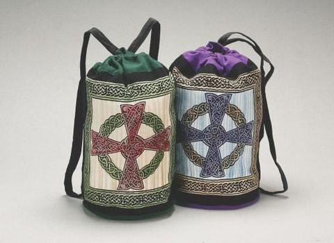 Celtic,Cross,Backpack,,Green,or,Purple,cotton,backpack, Celtic cross, green backpack,  purple backpack,Celtic Bac pack, , tote, bag, BrushCreekWoolWorks, Brush Creek Wool Works