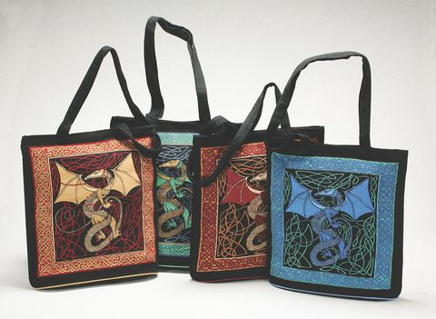 Celtic,Tote,,Dragon,Design,,Expandable,Bottom,tote, bag, Celtic, knotwork, cotton, expandable, dragon, BrushCreekWoolWorks, Brush Creek Wool Works
