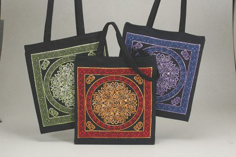 Celtic,Tote,Mandala,Multicolor,tote, bag, Celtic, knotwork, cotton, red, gold, black, Celtic Tote, Celtic bag ,  BrushCreekWoolWorks, Brush Creek Wool Works