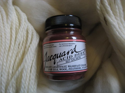 Jacquard,Acid,Dye,,Salmon,607,,for,Wool,,Silk,,,Feathers,,Nylon,,and,Other,Protein,Fibers,dye, acid dye , Salmon, acid wool dyes, acid fiber dyes, Jacquard, Jacquard Salmon, salmon, vinegar dye, fiber dye, synthetic dye, Jacquard dye, Jacquard Salmon Dye, BrushCreekWoolWorks, Brush Creek Wool Works
