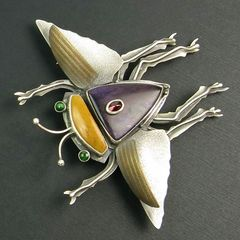 Flying Bug Pin - Garnet on Sugilite - product images 1 of 5