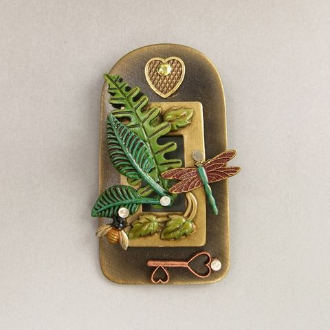 Mullanium,Green,House,Pin,Mullanium Green House Pin, Mullanium pin, Mullanium dragonfly pin, mixed media pin, steampunk pin
