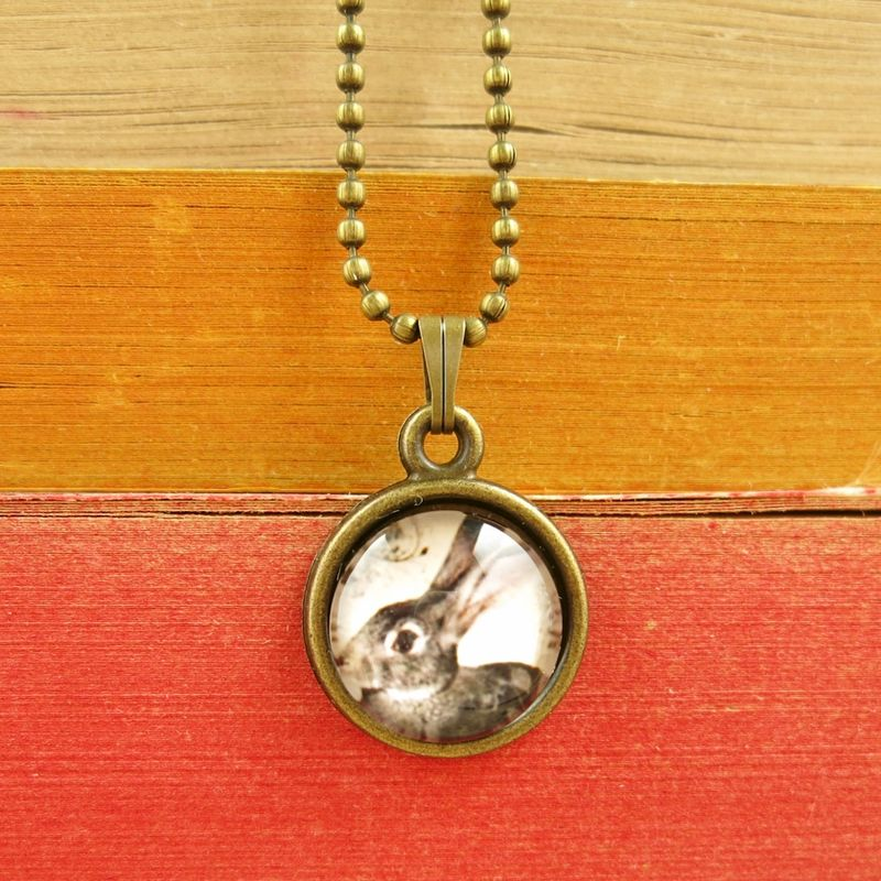 Beijo Brasil Glass Dome Necklace Rabbit TALICH
