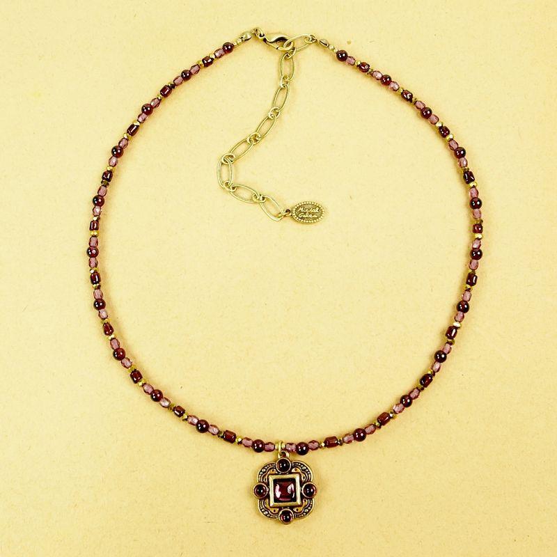 Michal golan claret small square pendant beaded necklace with michal golan claret small square pendant beaded necklace with garnet product image aloadofball Image collections