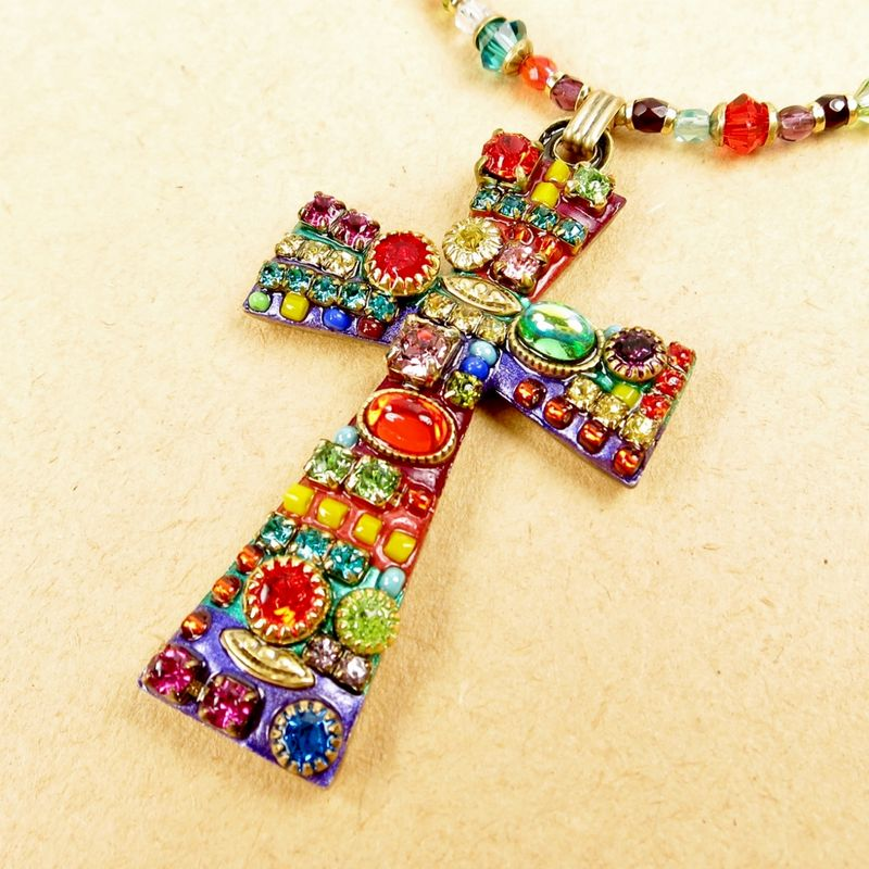 Michal golan large multi bright crystals cross pendant beaded michal golan large multi bright crystals cross pendant beaded necklace product image aloadofball Choice Image