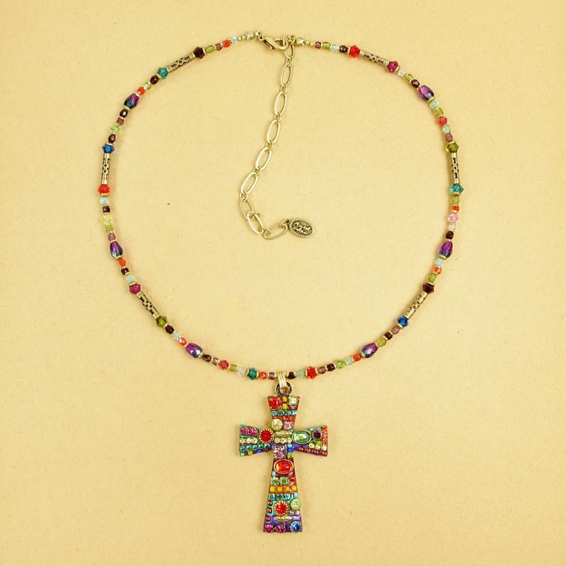 Michal golan large multi bright crystals cross pendant beaded michal golan large multi bright crystals cross pendant beaded necklace product image aloadofball Image collections