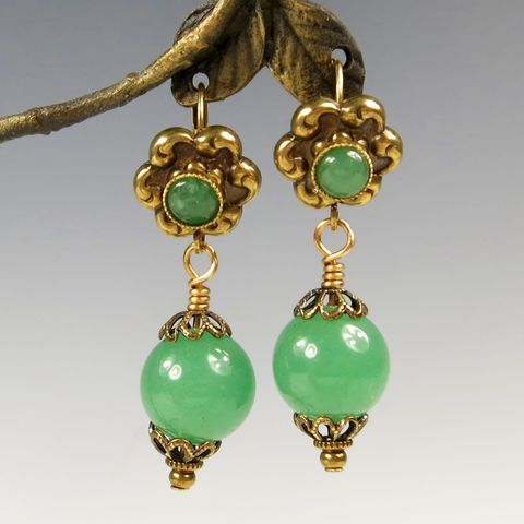 Jan,Michaels,Green,Aventurine,Gem,Drop,Earrings,Jan Michaels, Jan Michaels Green Aventurine Gem Drop Earrings, Jan Michaels earrings, Jan Michaels Green Aventurine Earrings