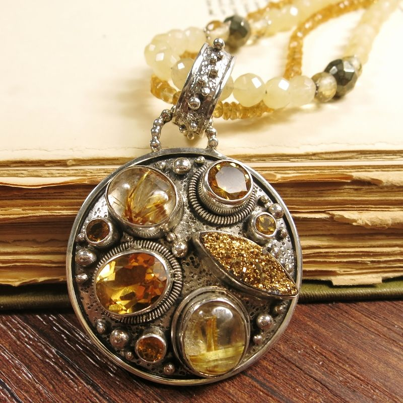 Echo of the dreamer sterling silver round pendant necklace with echo of the dreamer sterling silver round pendant necklace with multiple gemstones product image aloadofball Image collections