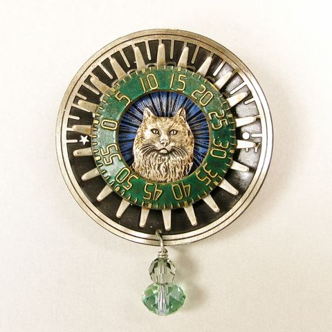 Mullanium,-,Cat,on,Sundial,Pin,Mullanium Pins, Mullanium by Jim and Tori, Mullanium Art