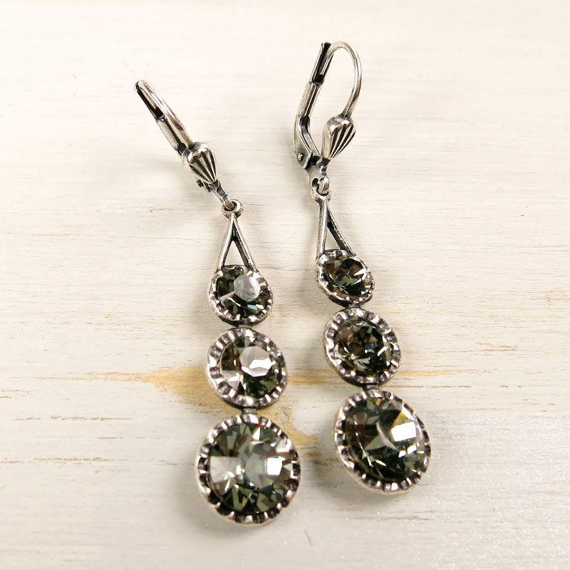 Square Diamond Silver tone Stud Earrings lin