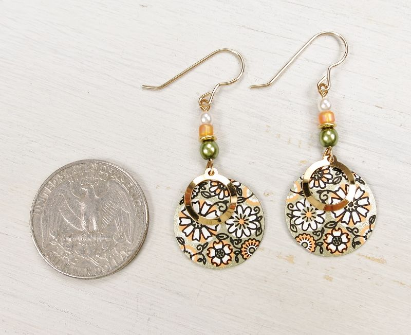 Adajio Earrings Soft Olive And Apricot Retro Floral Disc