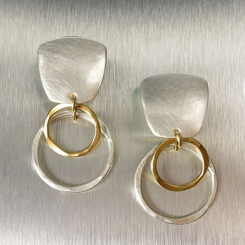 Marjorie Baer Gold Silver Two Tone Intertwined Wide Ring Clip or Post Earrings