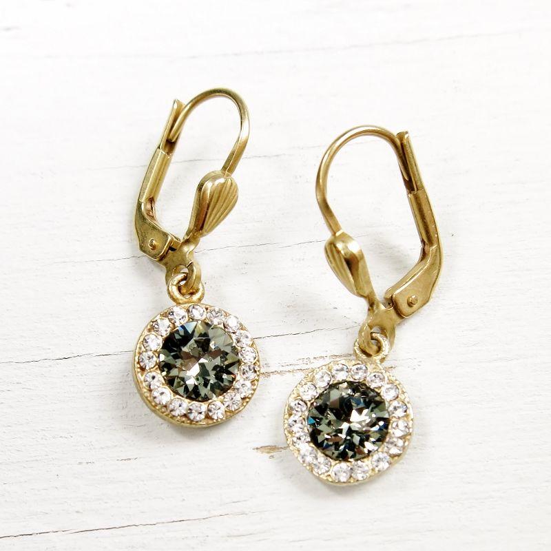 Catherine Popesco Pee Round Crystal Earrings In Black Diamond Product Image
