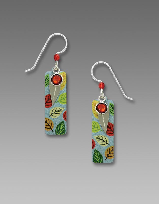 Adajio Earrings Multicolored Leaves Print Column Shiny Silver Leaf Overlay 7812