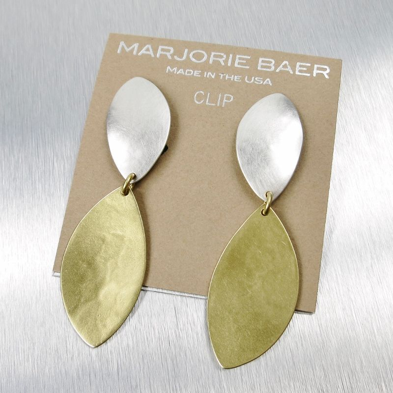 Marjorie Baer Large Linked Leaf Earrings Product Image