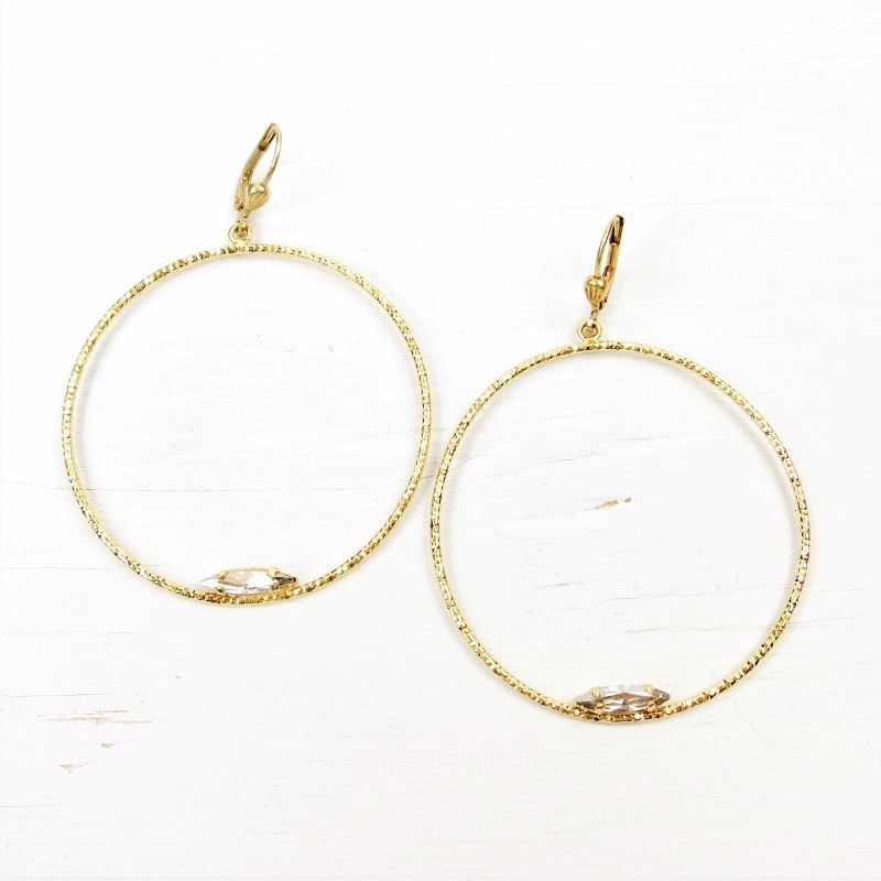 Catherine Popesco Large Textured Hoop Earrings With Crystal Product Image