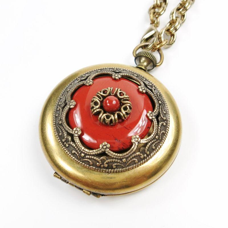 Jan Michaels Ornate Pocket Locket Necklace In Red