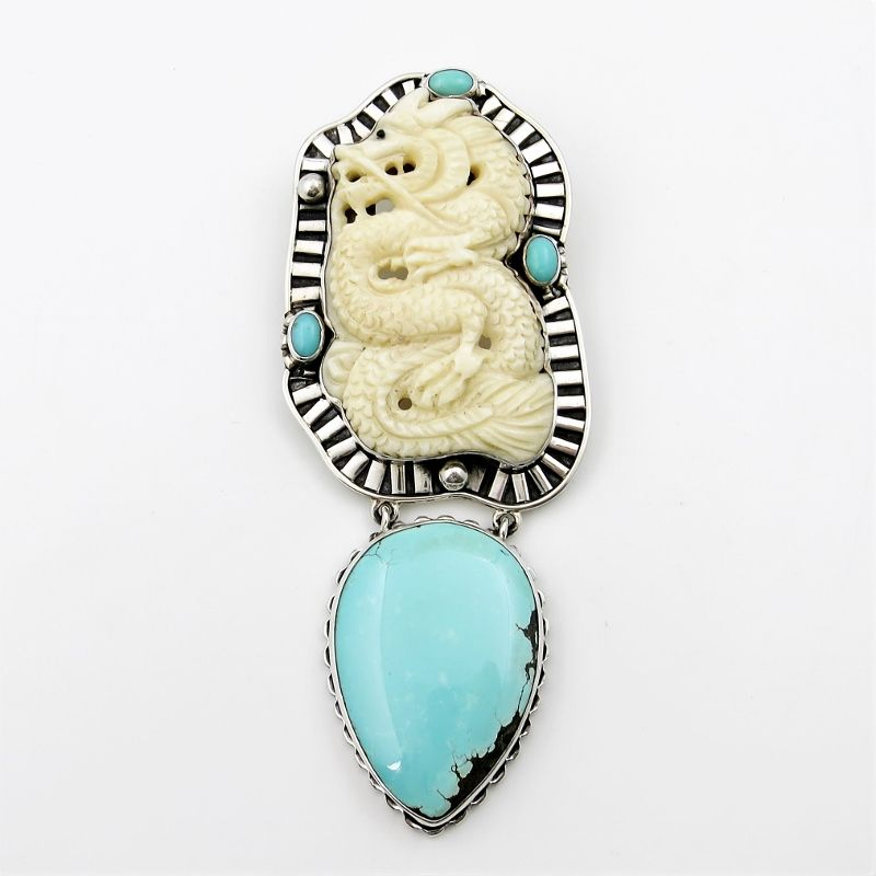 Amy kahn russell hand carved bone dragon turquoise pin pendant amy kahn russell hand carved bone dragon turquoise pin pendant product image aloadofball Gallery
