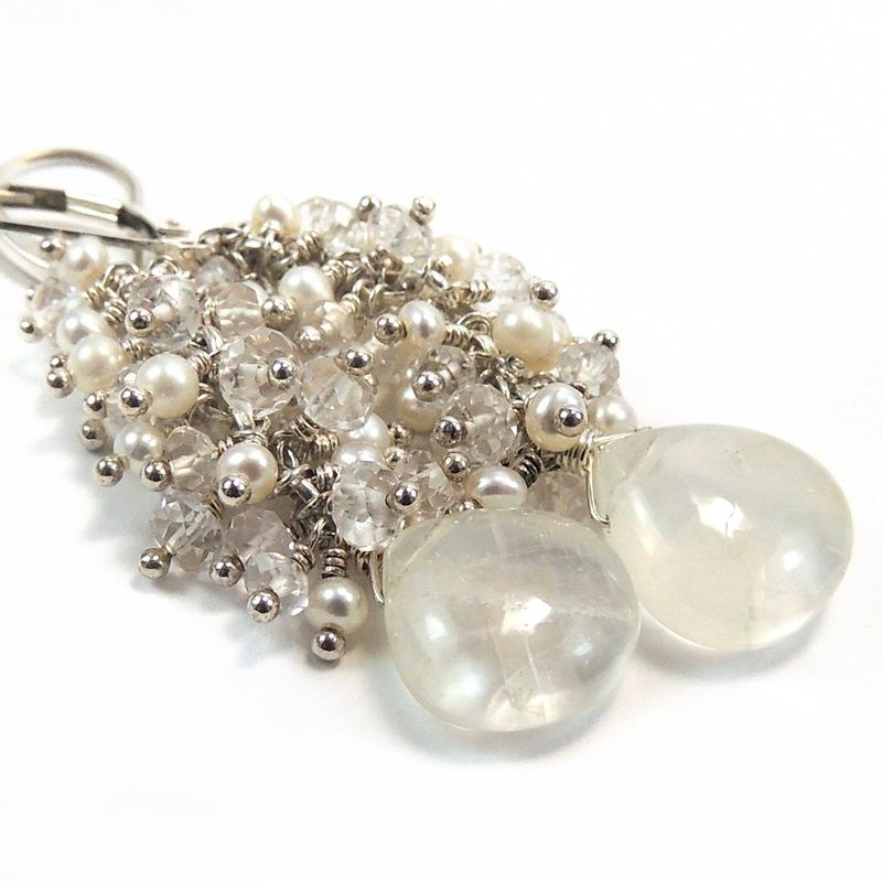 Moonstone, Pearl, White Topaz, Sterling Silver Wire Wrapping ...