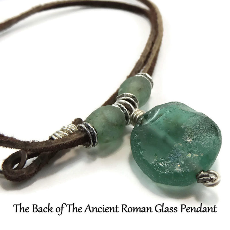 Ancient roman glass and leather necklace with sterling silver and ancient roman glass and leather necklace with sterling silver and african glass beads product images aloadofball Gallery